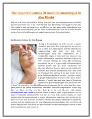 The Imperviousness Of Good Dermatologist In Abu Dhabi.doc