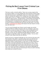 Picking the Best Lawyer from Criminal Law Firm Ottawa.pdf